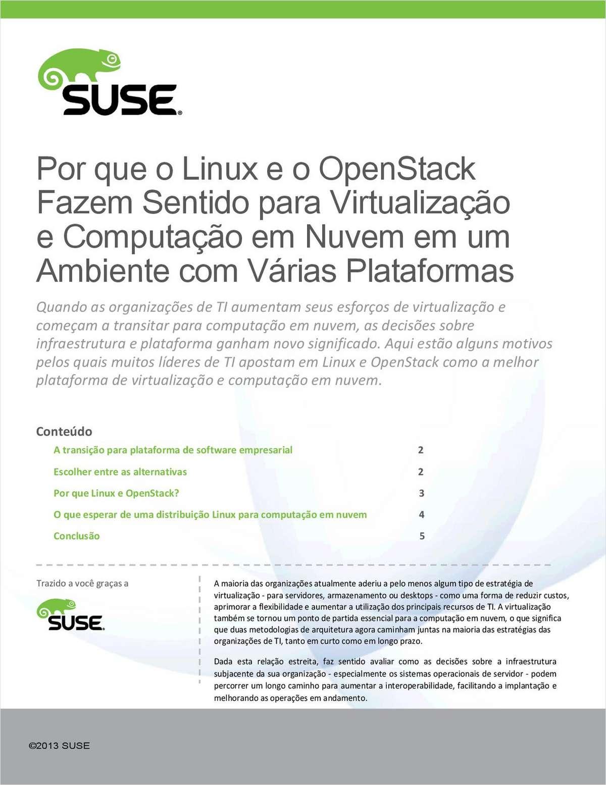 Linux & OpenStack:  A Melhor Plataforma de Virtualização e Computação em Nuvem