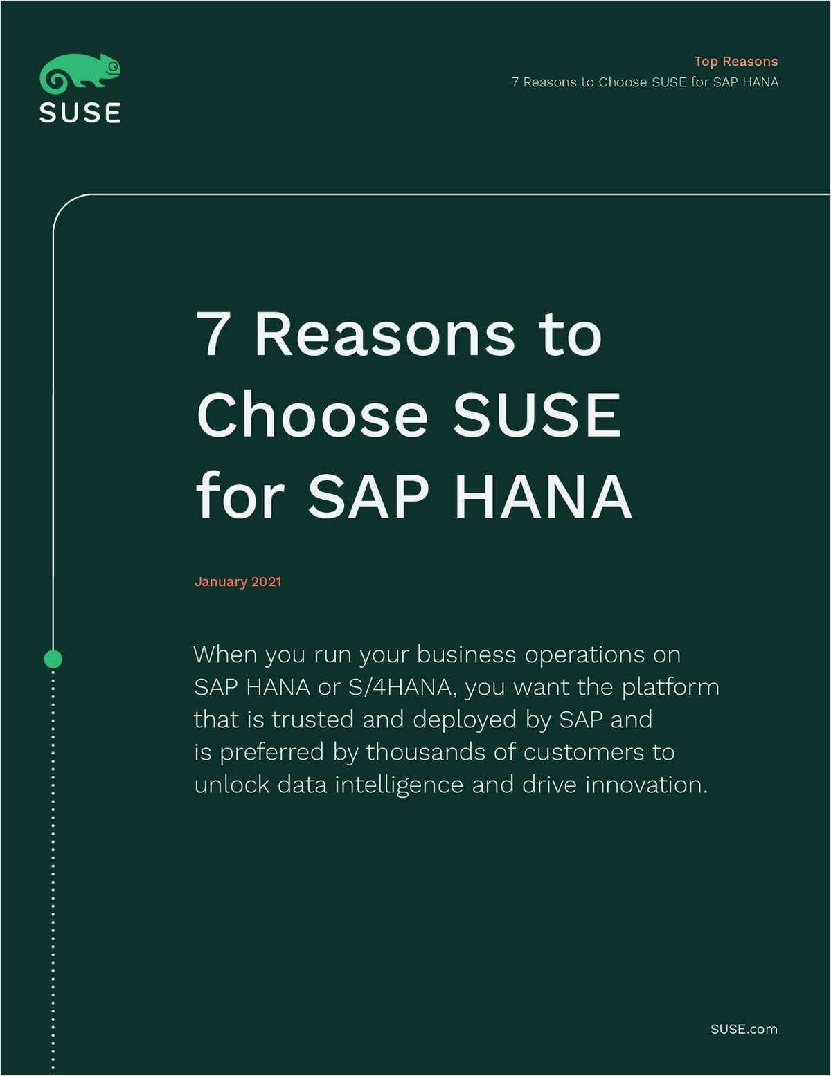7 Reasons to Choose SUSE for SAP HANA