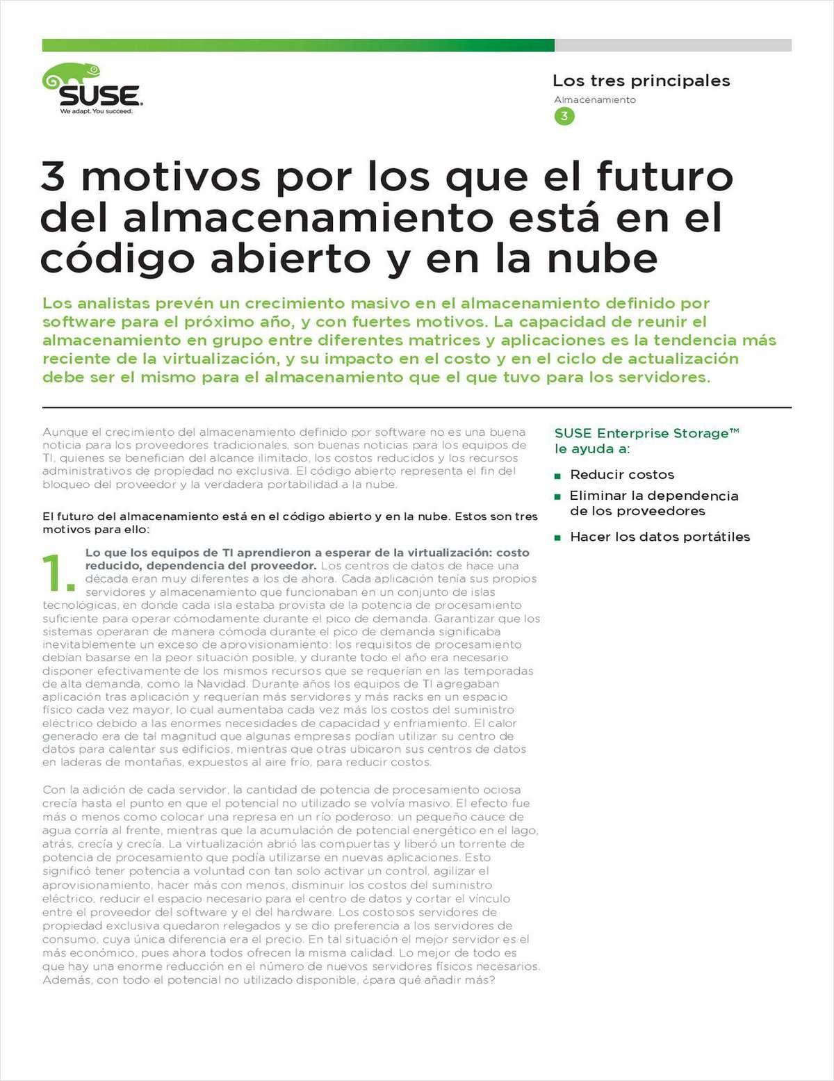 3 motivos por los que el future del almacenamiento está en el código abierto y en la nube