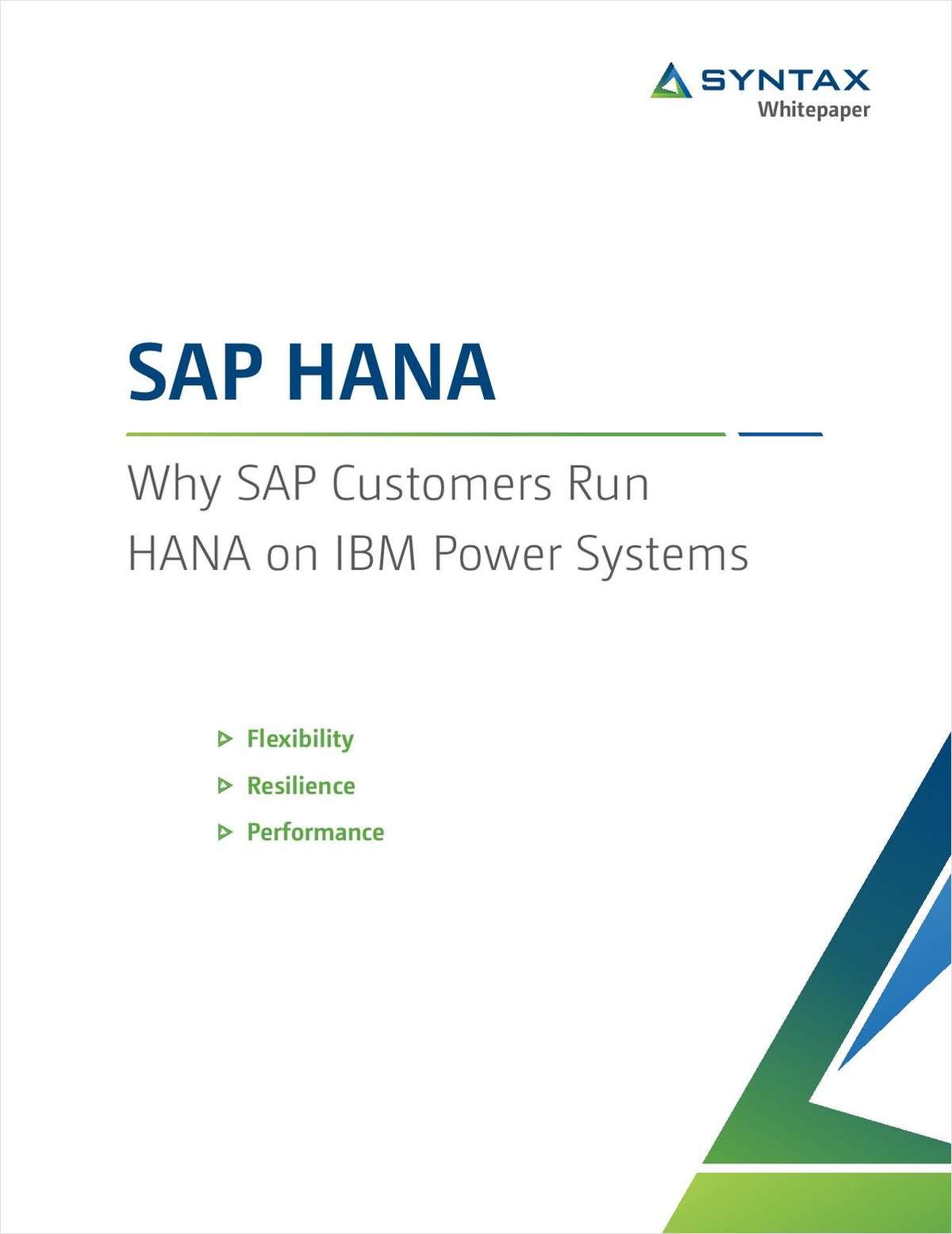 SAP HANA: Why SAP Customers Run HANA on IBM Power Systems