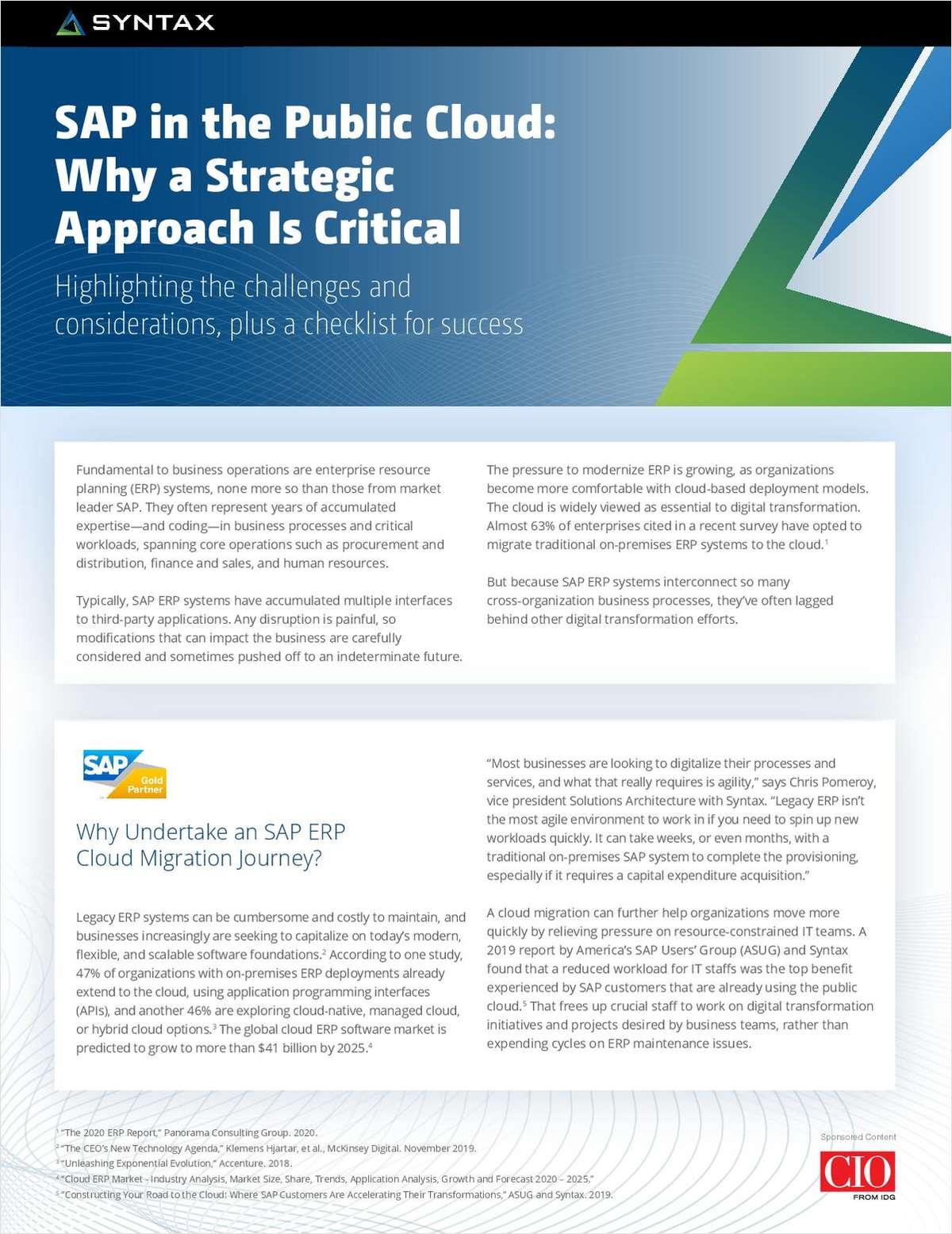 SAP in the Public Cloud: Why a Strategic Approach is Critical