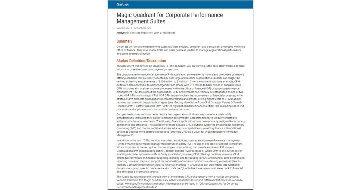 Magic Quadrant for Corporate Performance Management Suites, Free ...