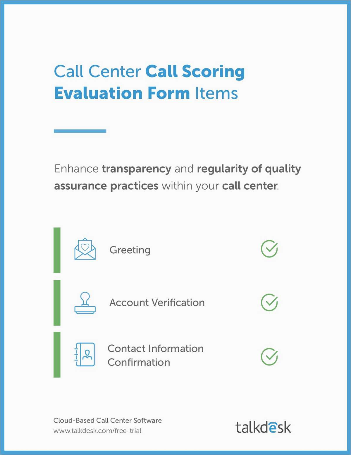 Call Center Scoring Evaluation Form Items Free Talkdesk Inc EBook