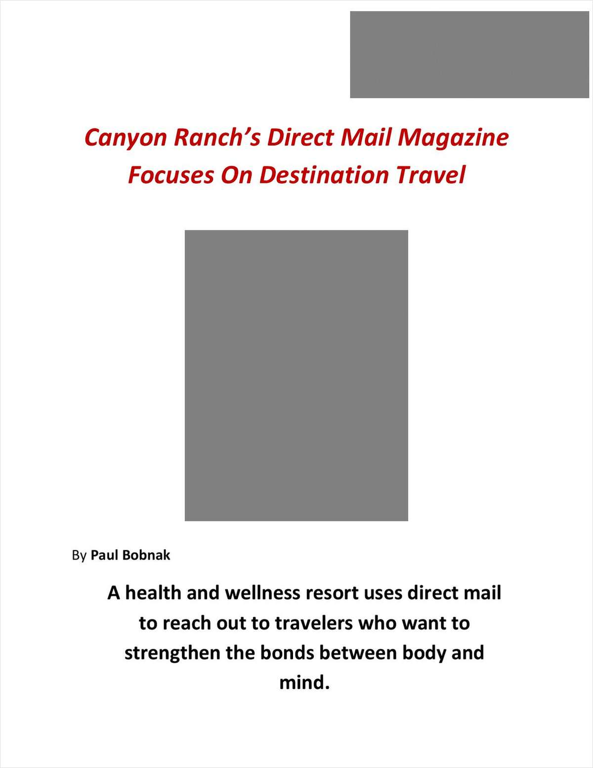 Canyon Ranch's Direct Mail Inspires Travel