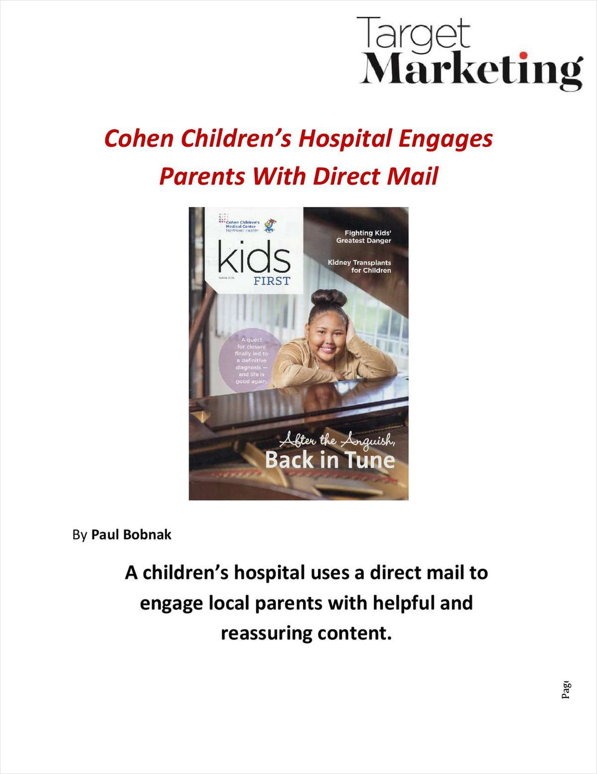 Cohen Children's Hospital Tells Patient Stories With Direct Mail