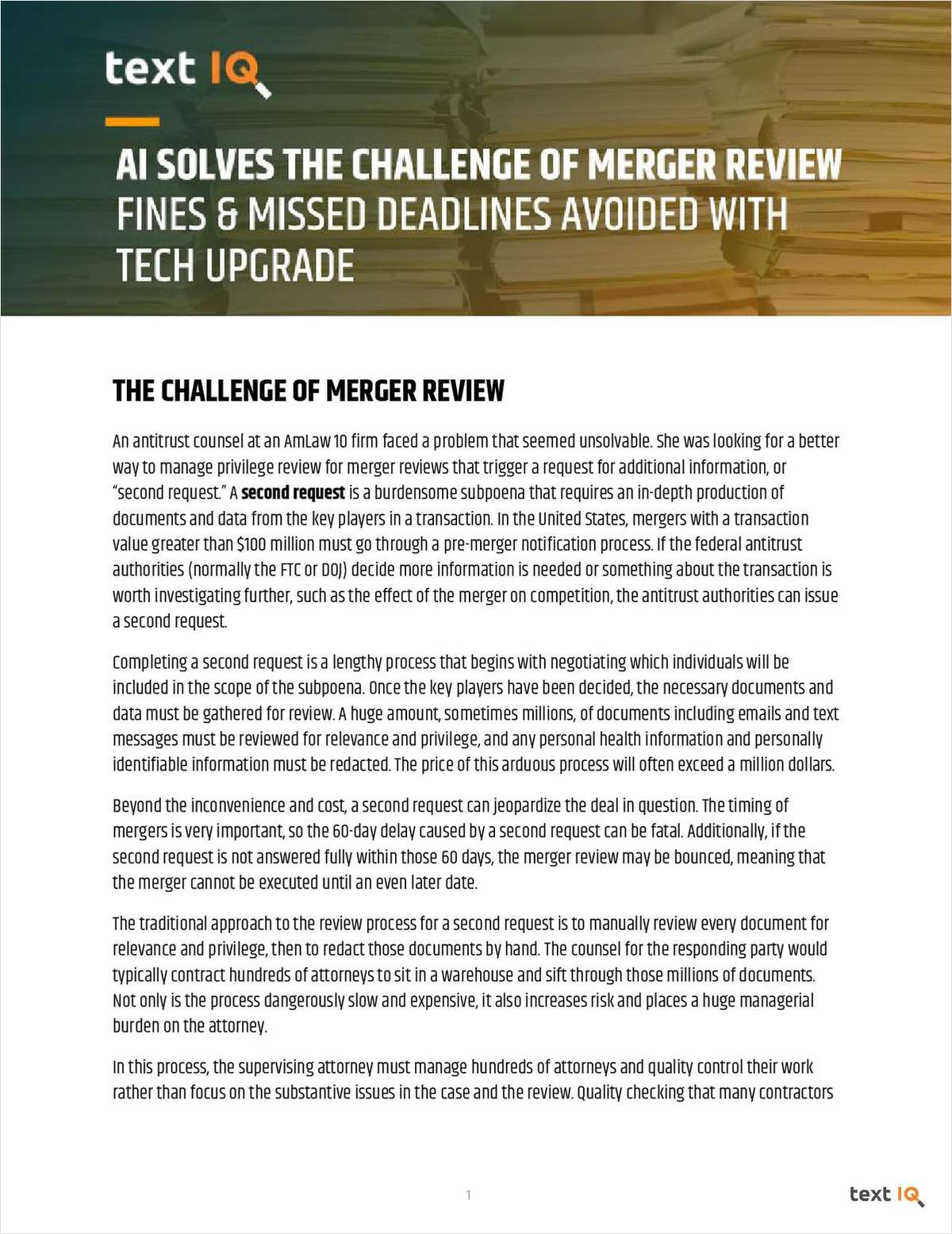 AI Solves the Challenge of Merger Review: Fines and Missed Deadlines Avoided With Tech Upgrade