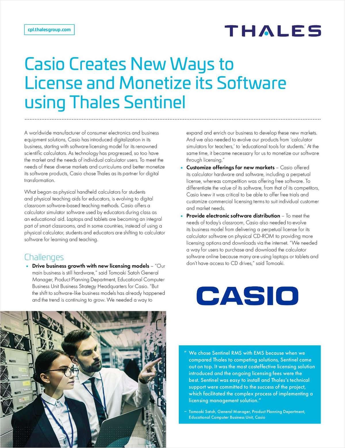 Casio conquiert de nouveaux marchés et augmente ses revenus grâce à de nouveaux modèles de logiciels