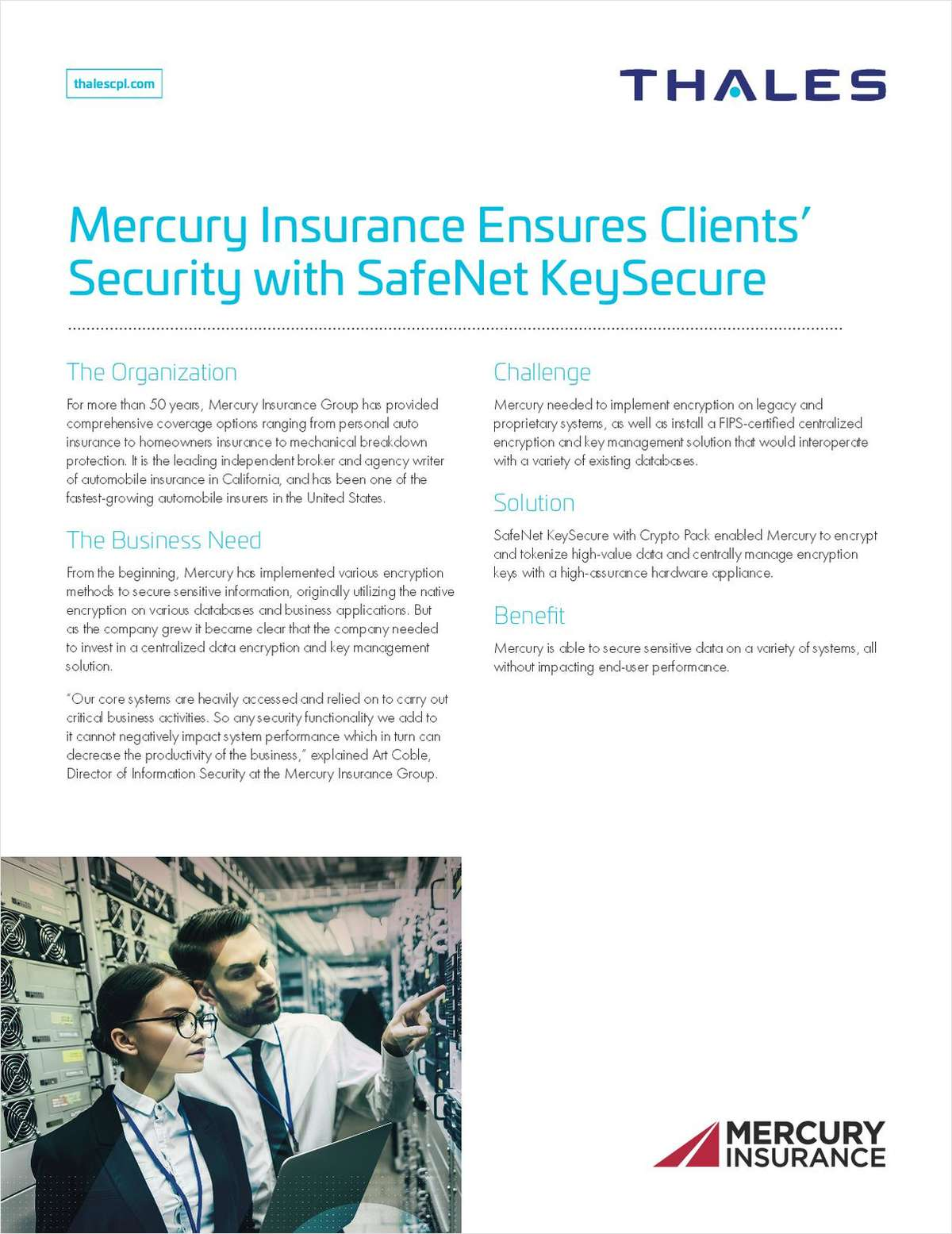 Mercury Insurance Ensures Clients' Security with SafeNet KeySecure