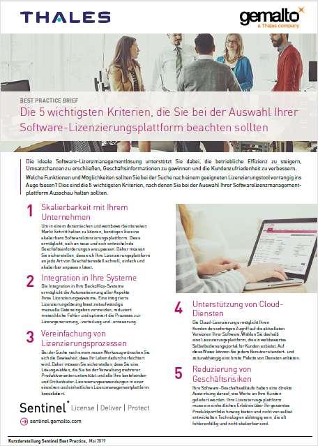 Die 5 wichtigsten Anforderungen an ein  Software-Lizenzierungsplattform