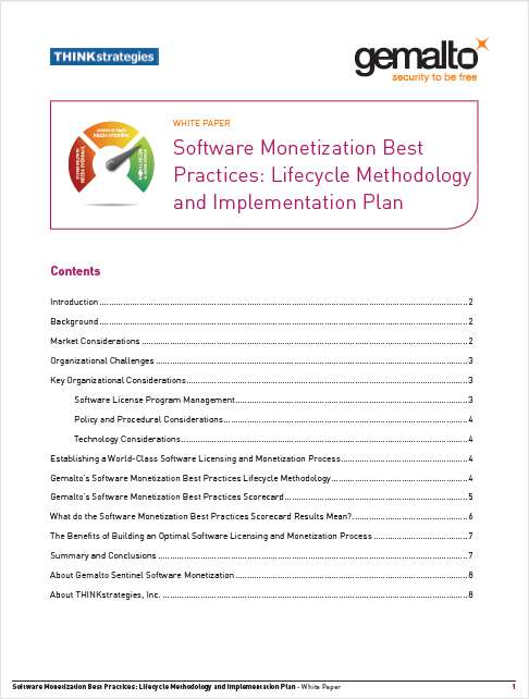 Software Monetization Best Practices: Lifecycle Methodology and Implementation Plan