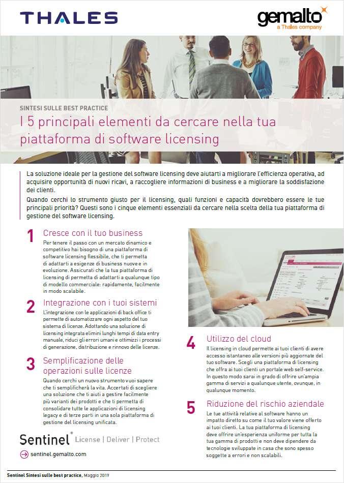 I 5 requisiti più importanti per una piattaforma di licenze software - The Top Five Elements in a Software  Licensing Platform
