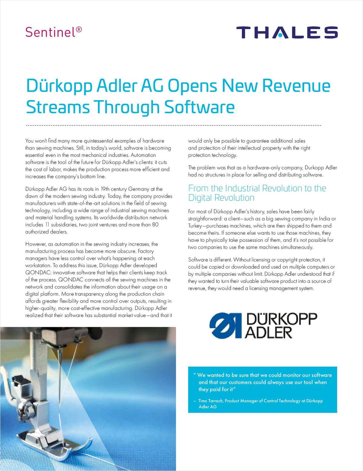 DürKopp Adler AG Opens New Revenue Streams through Software