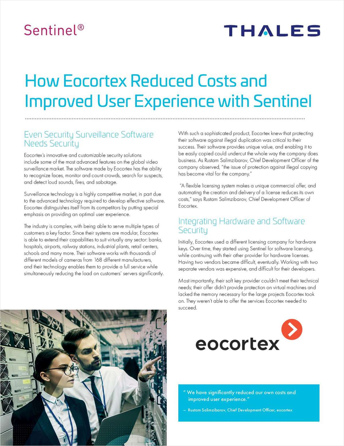 How Eocortex Reduced Costs and Improved User Experience with Thales Sentinel