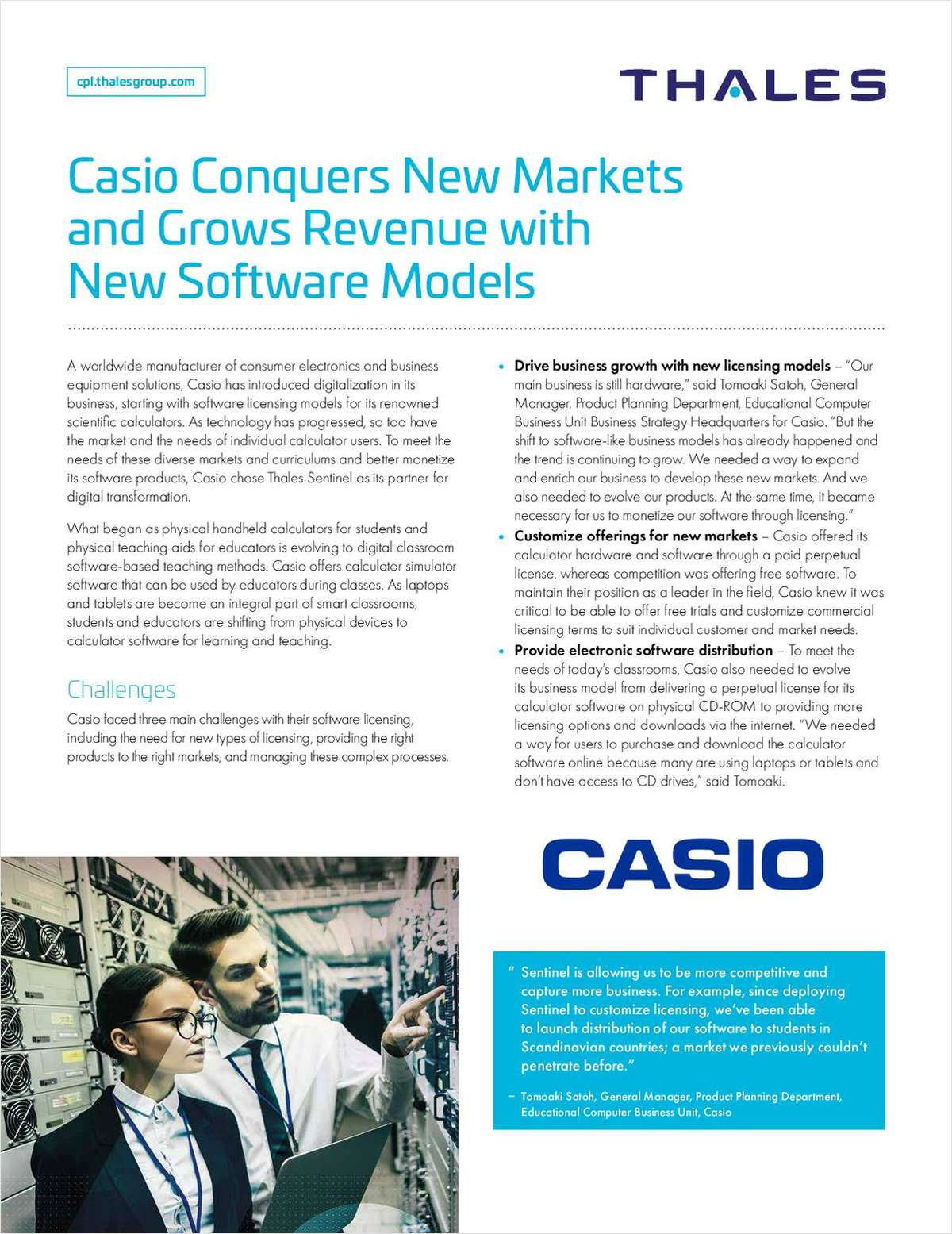 Case Study - Casio Conquers New Markets and Grows Revenue with New Software Models