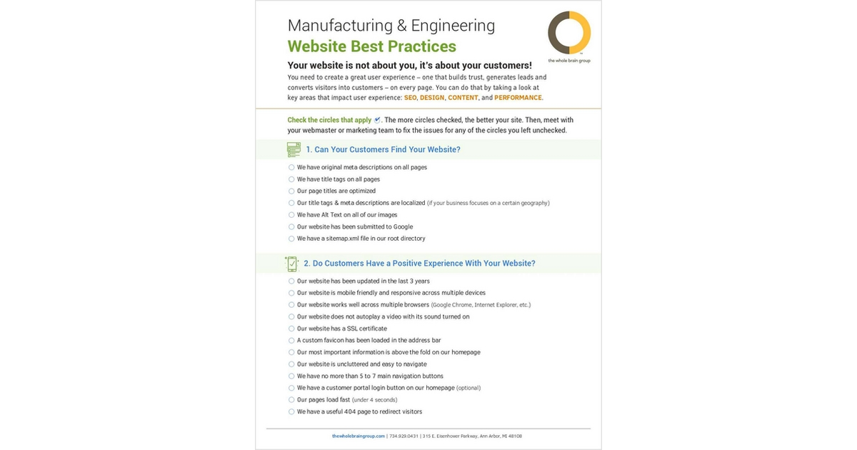 manufacturing engineering website best practices free checklist