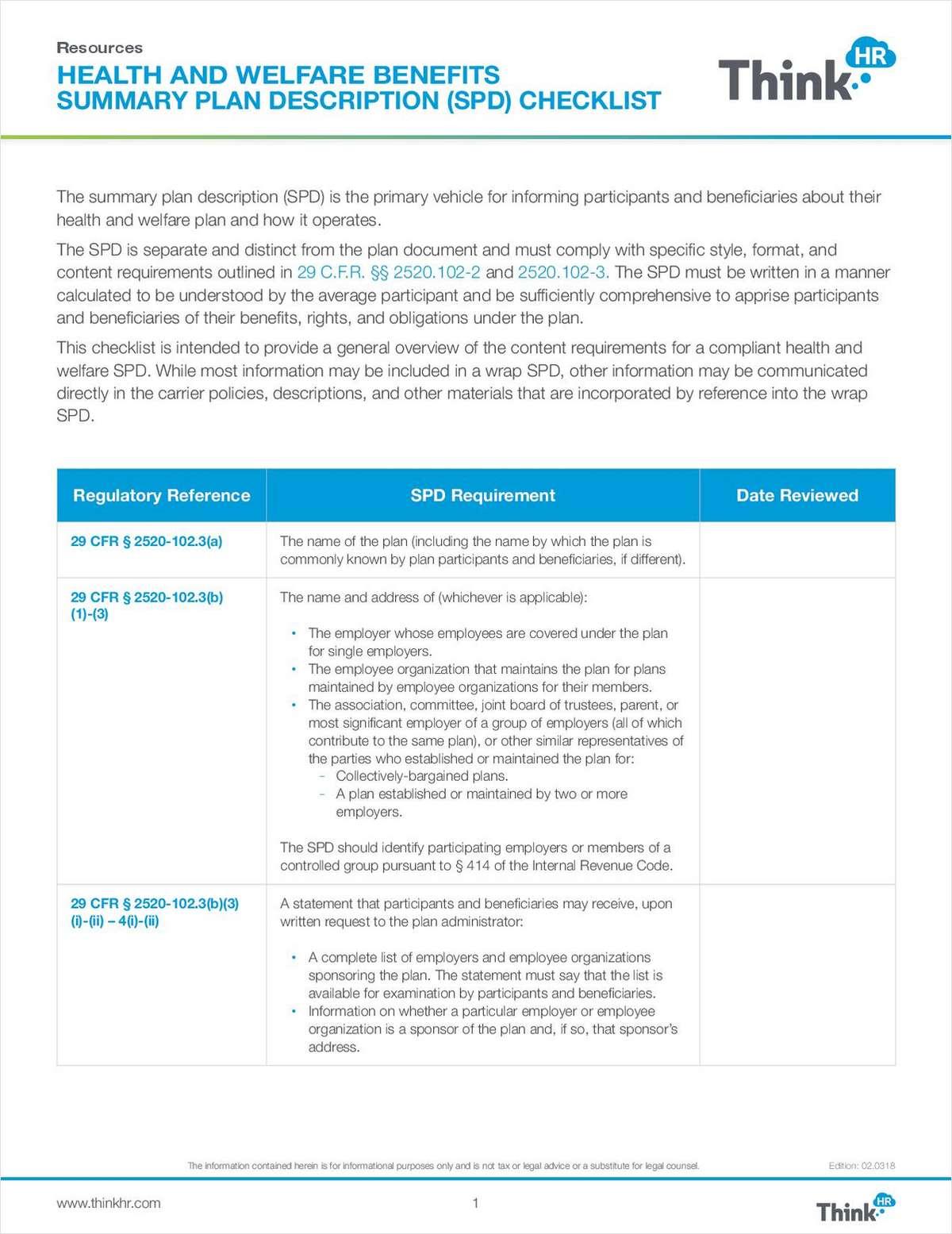 Health and Welfare Benefits Summary Plan Description (SPD) Checklist