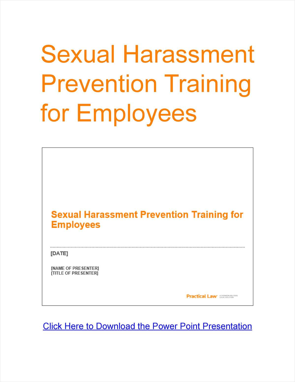 Sexual Harassment Prevention Training for Employees