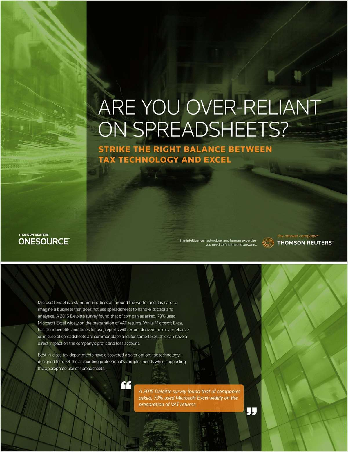 ARE YOU OVER-RELIANT ON SPREADSHEETS?, Free Thomson Reuters