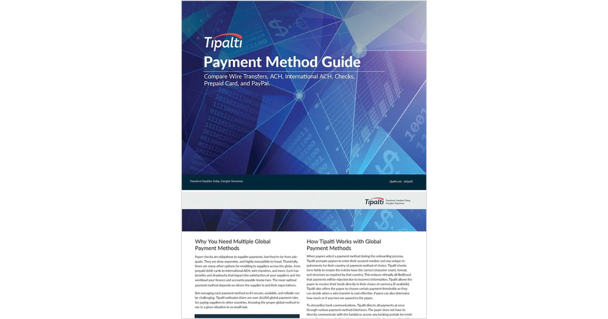 Payment Method Guide, Free Tipalti, Inc  Guide