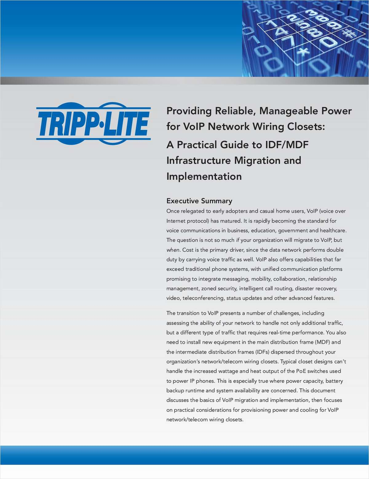 Provide Reliable, Manageable Power for VoIP Network Wiring Closets