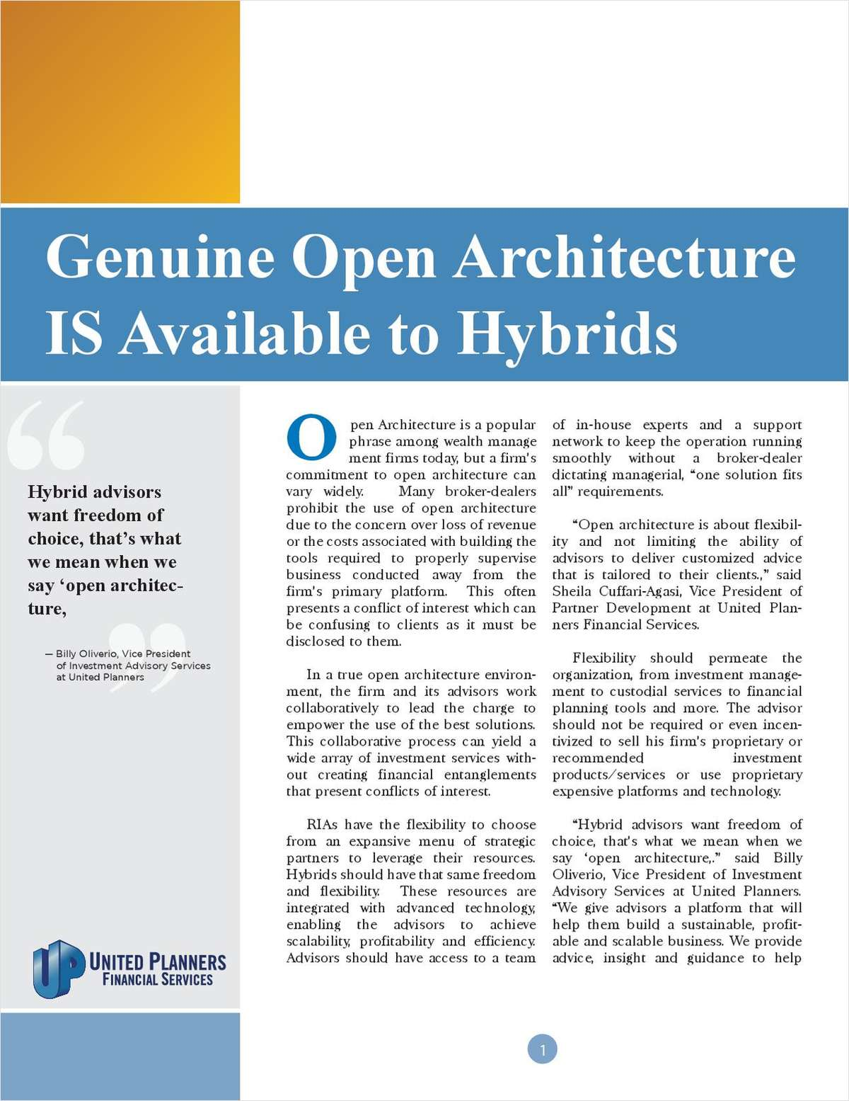 Genuine Open Architecture IS Available to Hybrids
