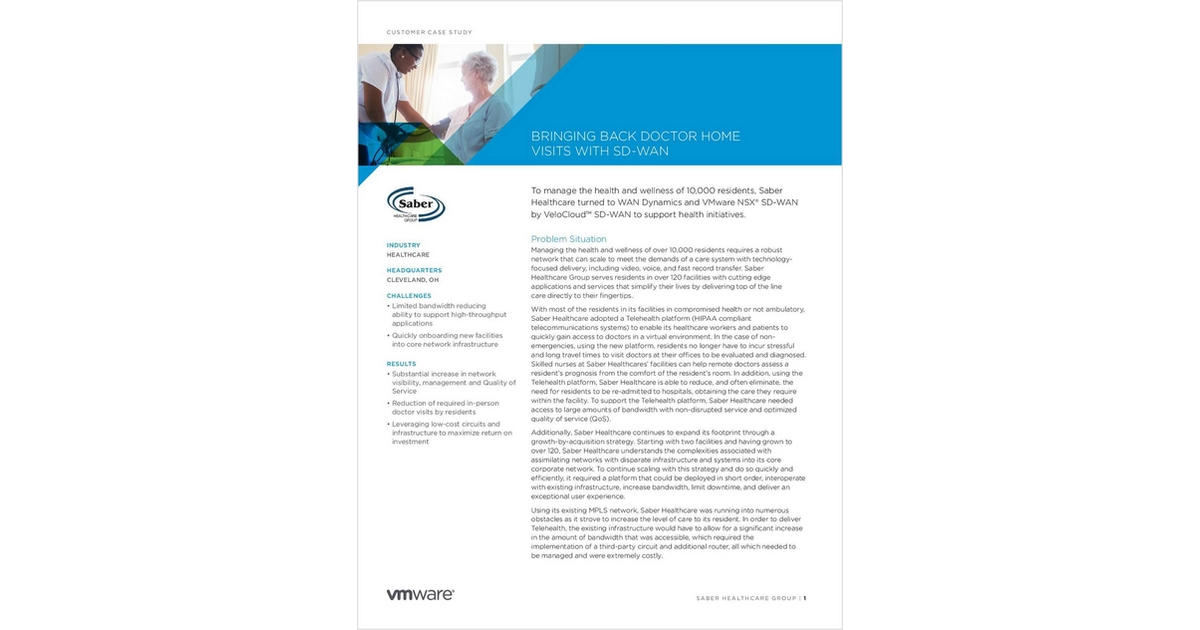 Bringing Back Doctor Home Visits with SD-WAN, Free VeloCloud
