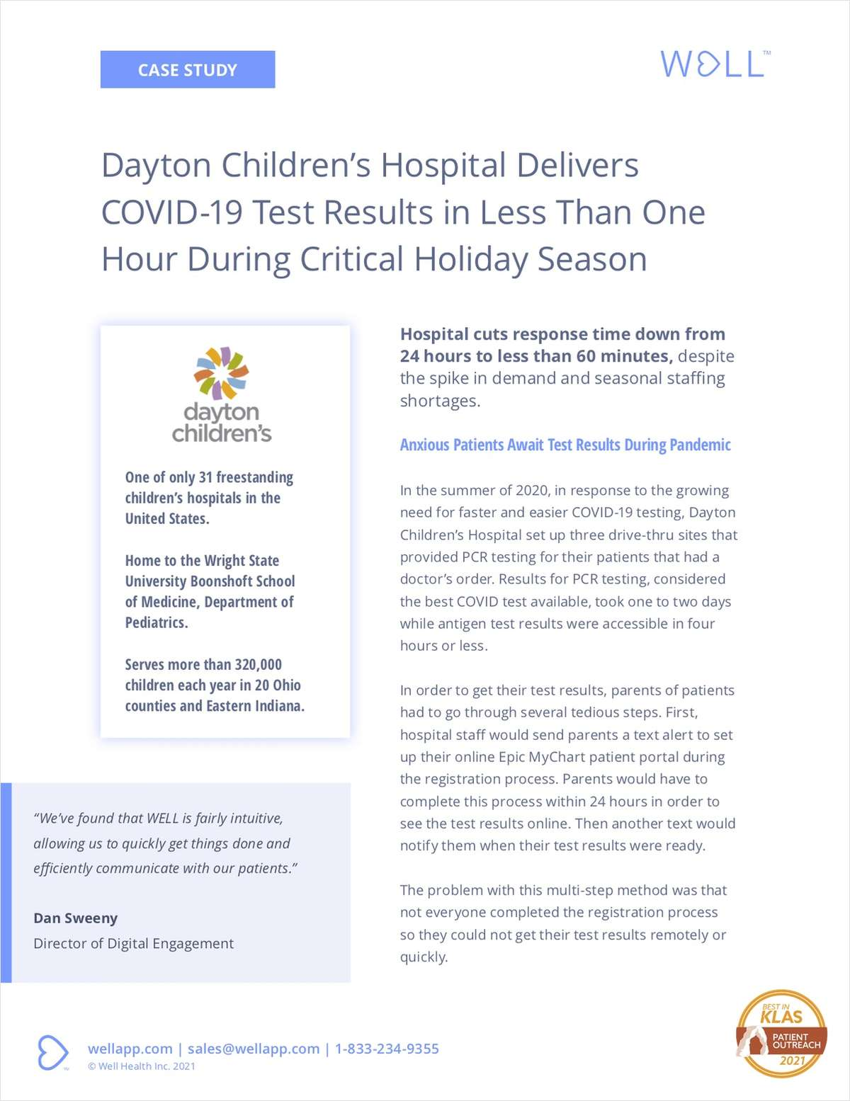 WELL™ Enables Dayton Children's to Deliver COVID Results in One Hour