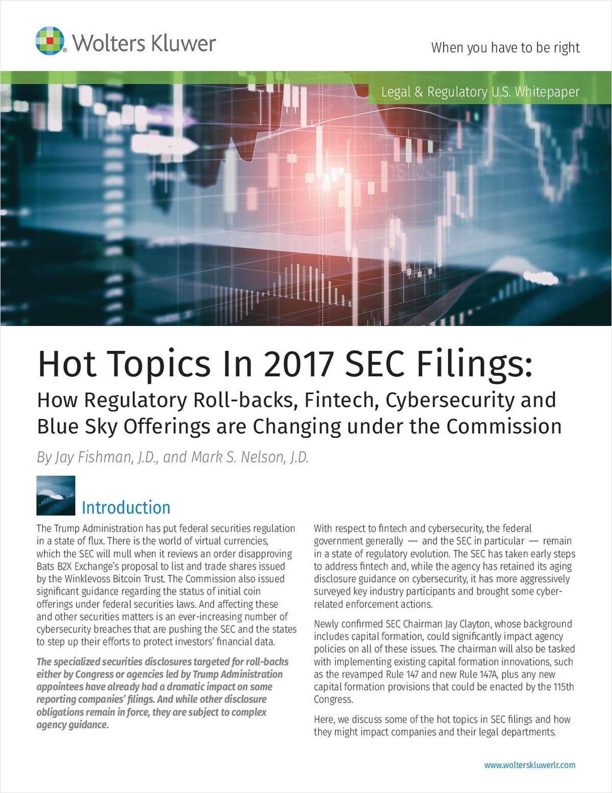 Hot Topics in 2017 SEC Filings