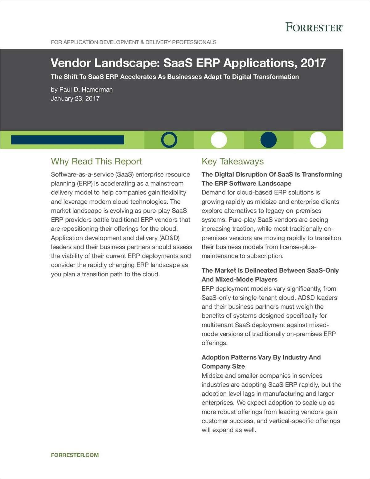 Forrester Vendor Landscape: SaaS ERP Applications, 2017
