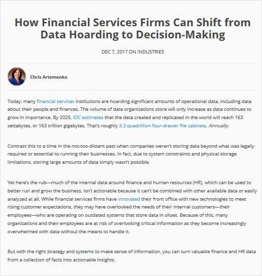 How Financial Services Firms Can Shift from Data Hoarding to Decision-Making