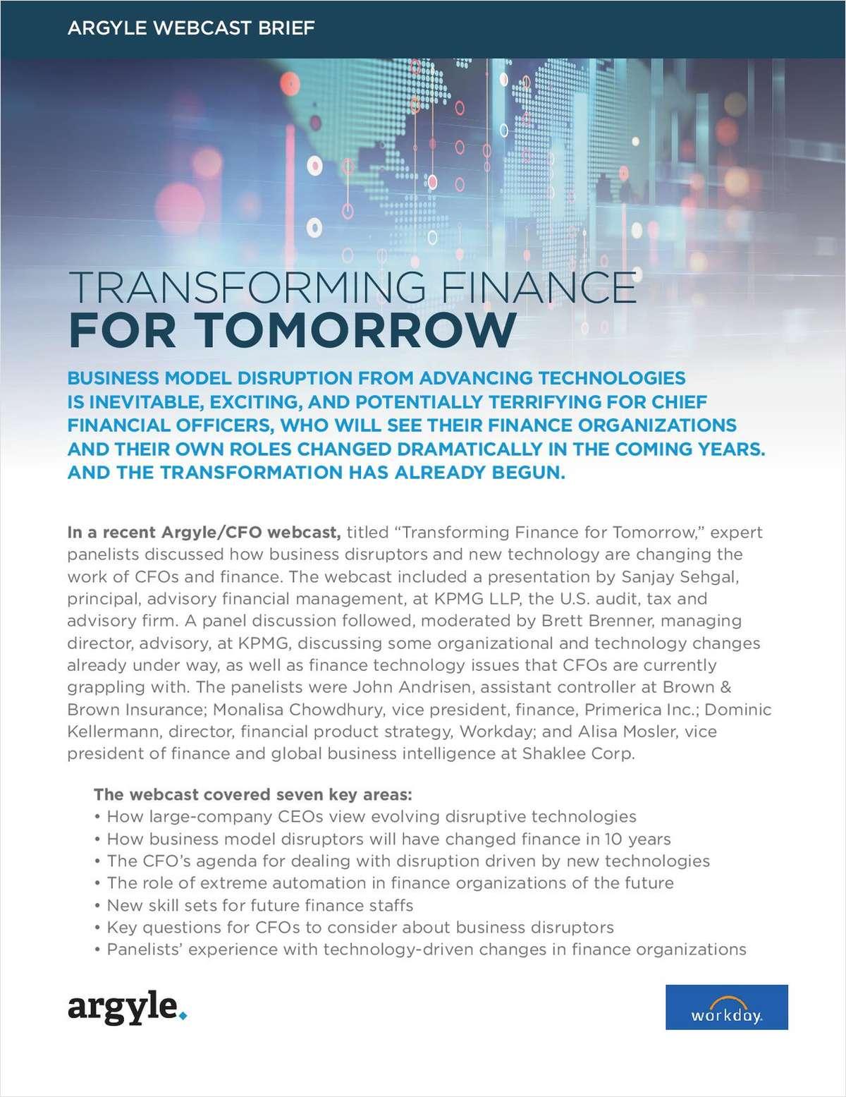 Transforming Finance For Tomorrow Webcast Brief