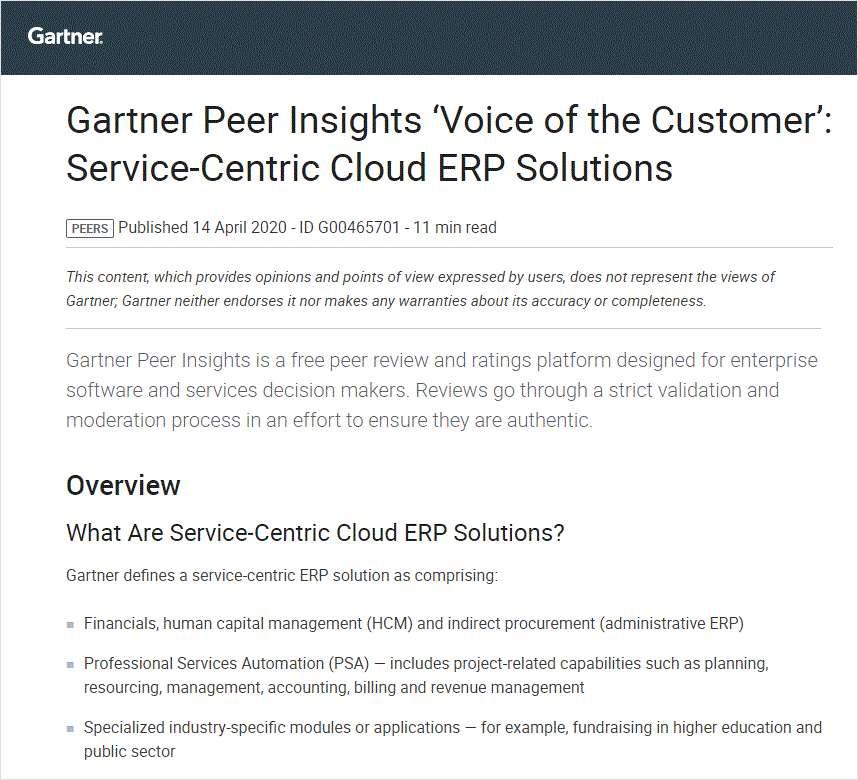Gartner Service Centric Cloud ERP Report
