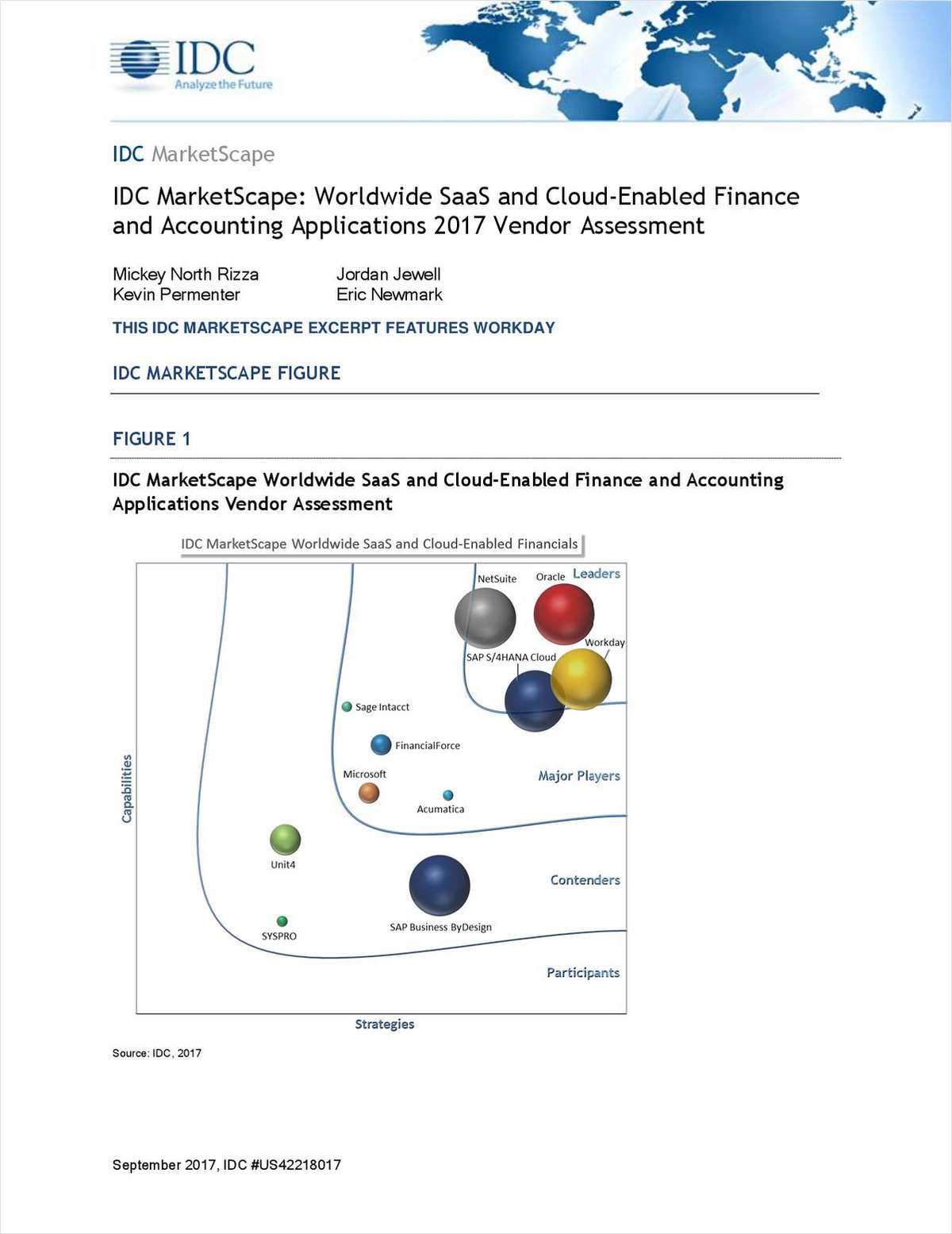 IDC MarketScape: Worldwide SaaS and Cloud-Enabled Finance and Accounting Applications 2017 Vendor Assessment