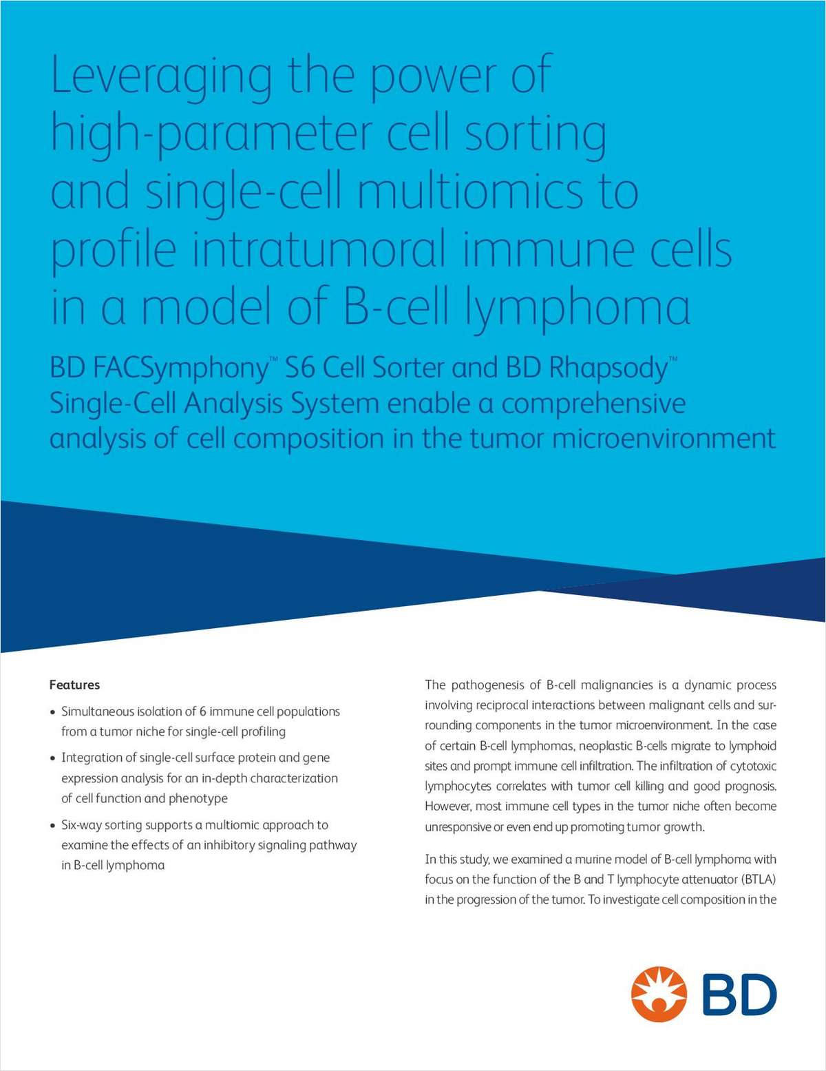 Leveraging the Power of High-Parameter Cell Sorting and Single-Cell Multiomics to Profile Intratumoral Immune Cells in a Model of B-Cell Lymphoma