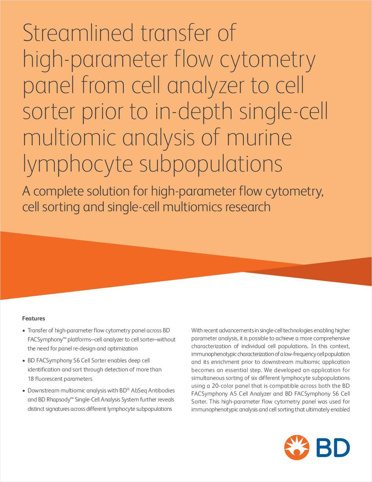 Streamlined Transfer of High-Parameter Flow Cytometry Panel From Cell Analyzer to Cell Sorter Prior To In-Depth Single-Cell Multiomic Analysis of Murine Lymphocyte Subpopulations