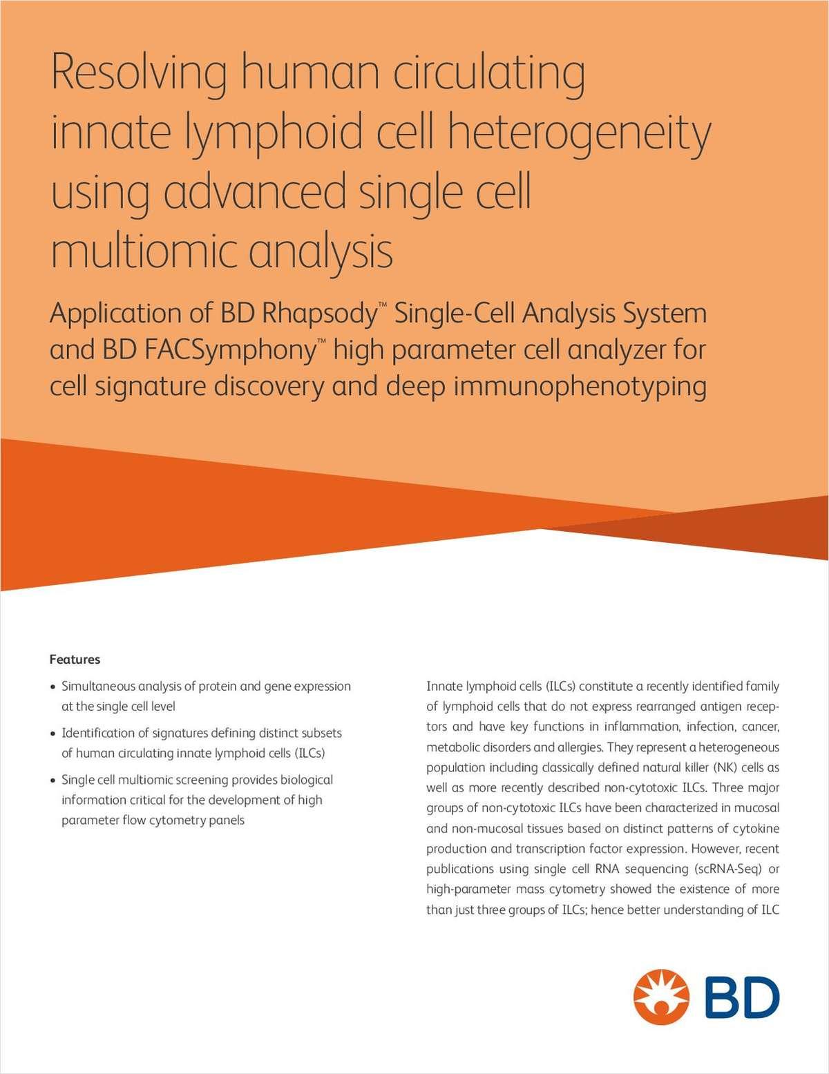 Resolving Human Circulating Innate Lymphoid Cell Heterogeneity Using Advanced Single Cell Multiomic Analysis