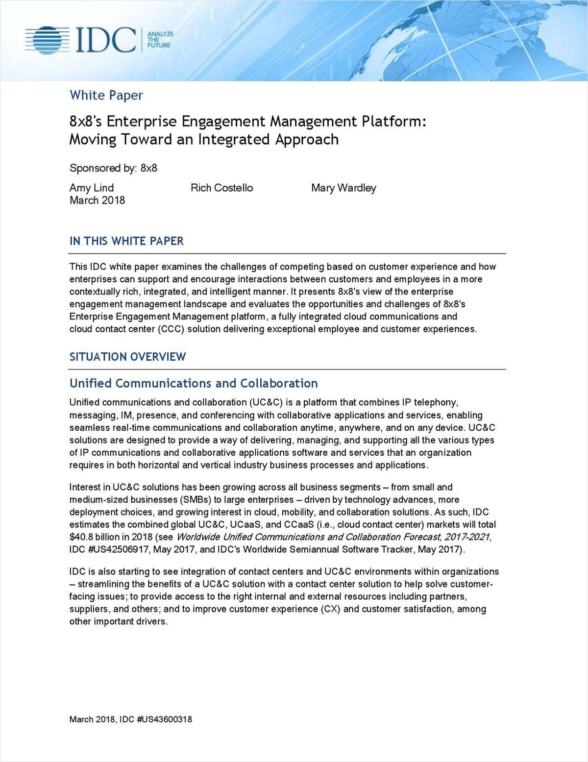 8x8's Enterprise Engagement Management Platform: Moving Toward an Integrated Approach