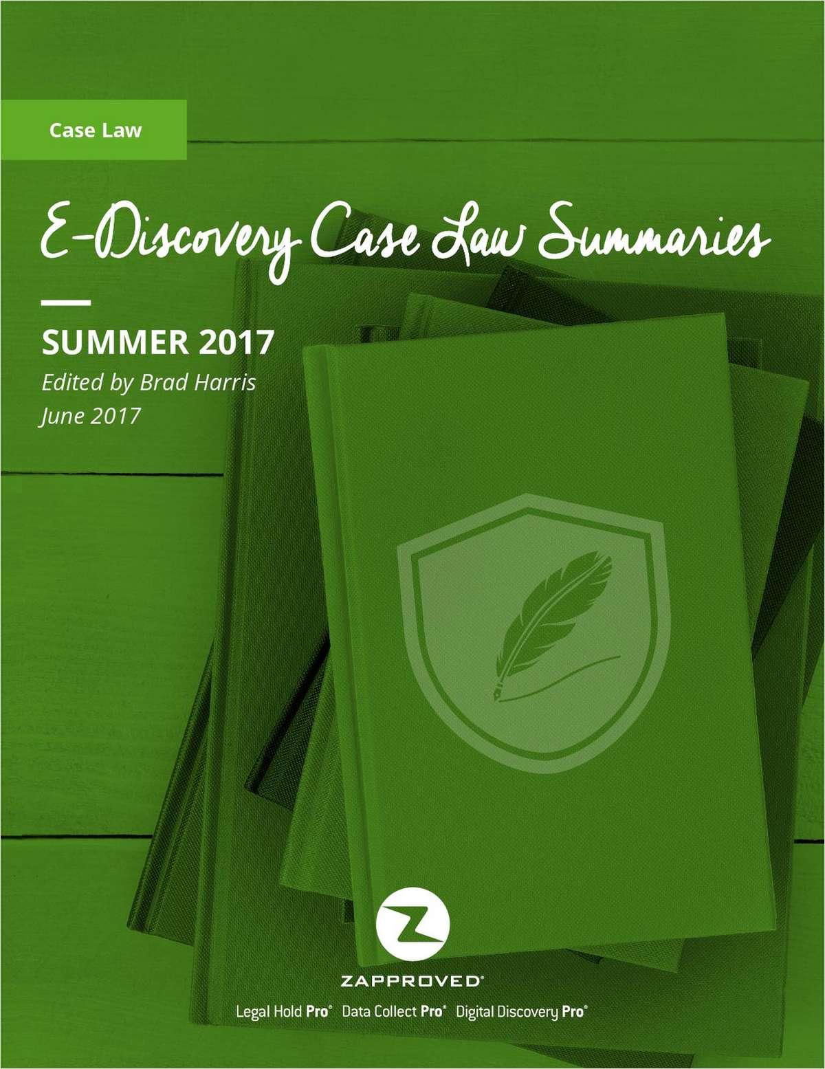 Case Law Summaries: Summer 2017 Edition