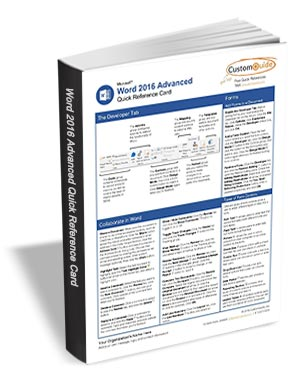 Microsoft Word 2016 Advanced - Quick Reference Card